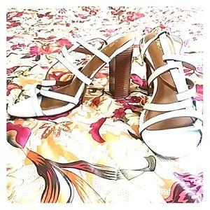 White scrappy heels